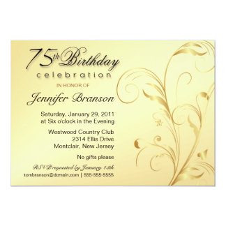 75th Birthday Surprise Party - Elegant Gold Floral Card