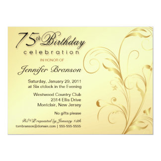 75th Birthday Surprise Party - Gold Floral - Large Card