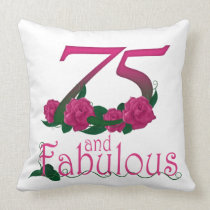 "75th birthday Throw Pillow 20"" x 20"""