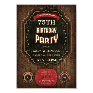75th Birthday Vintage Chalkboard & Wood 5x7 Paper Invitation Card