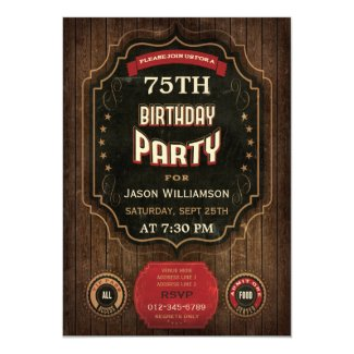 75th Birthday Vintage Chalkboard & Wood Card