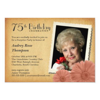 75th Birthday Vintage Daisy Photo Invitations