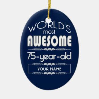 75th Birthday Worlds Best Fabulous Dark Blue Ceramic Ornament