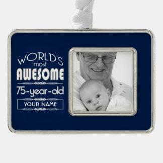 75th Birthday Worlds Best Fabulous Dark Blue Christmas Ornament