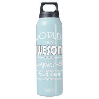 75th Birthday Worlds Best Fabulous Dark Blue Insulated Water Bottle