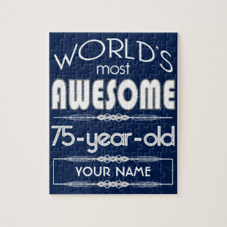 75th Birthday Worlds Best Fabulous Dark Blue Jigsaw Puzzle