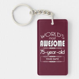 75th Birthday Worlds Best Fabulous Dark Red Double-Sided Rectangular Acrylic Keychain
