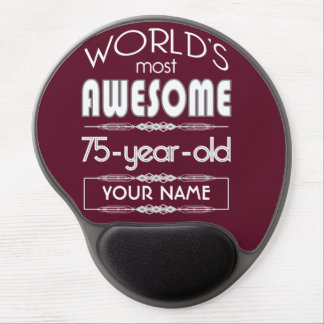 75th Birthday Worlds Best Fabulous Dark Red Maroon Gel Mouse Pad
