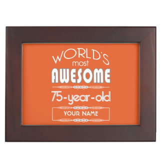75th Birthday Worlds Best Fabulous Flame Orange Keepsake Box