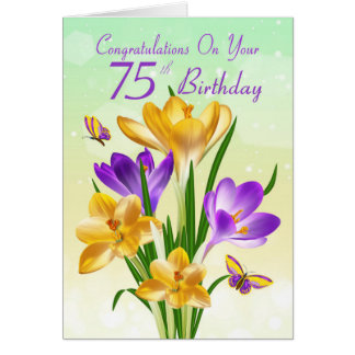 75th Birthday Yellow And Purple Crocus Greeting Card