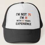 """75th cool birthday designs trucker hat<br><div class=""""desc"""">75 year old designs will make a cool present</div>"""