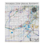 75th Illinois House District - Detailed Line Map Poster