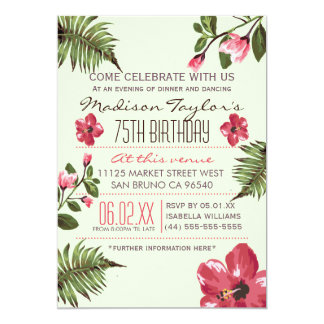 75th Party Exotic Hibiscus & Tropical Palm Leaves 5x7 Paper Invitation Card