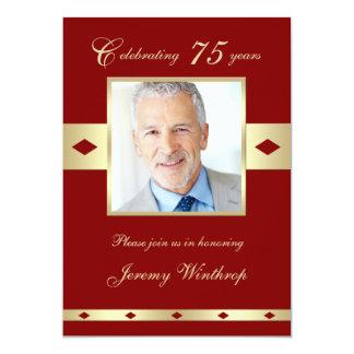 "75th Photo Birthday Party Invitation - Burgundy 75 5"" X 7"" Invitation Card"
