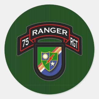 75th Ranger Rgt - scroll & flash Classic Round Sticker