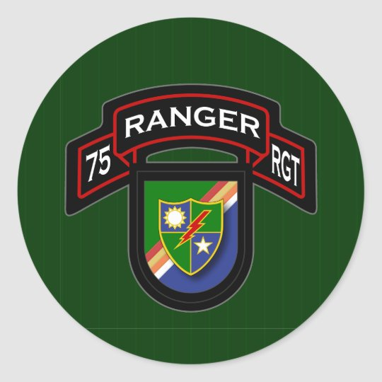 75th Ranger Rgt - scroll & flash Classic Round Sticker