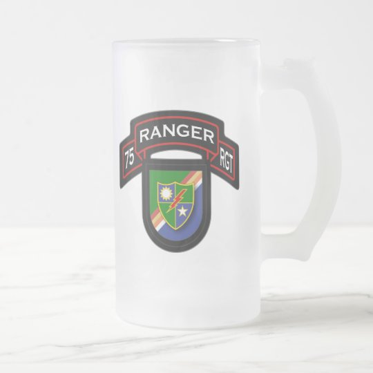 75th Ranger Rgt - scroll & flash Frosted Glass Beer Mug