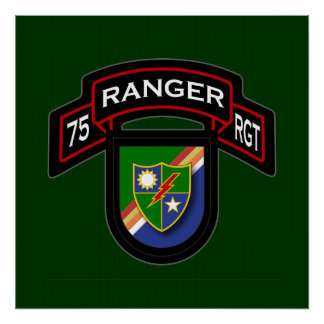 75th Ranger Rgt - scroll flash Posters