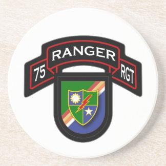 75th Ranger Rgt - scroll & flash Sandstone Coaster