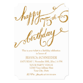75th, Seventy Fifth Birthday Party Celebration 5x7 Paper Invitation Card