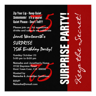 75th SURPRISE Birthday Black Red White Felt Paper Card