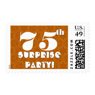75th Surprise Birthday Party Gold and White W1277 Postage