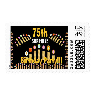 75th SURPRISE BIrthday Party - GOLD Candles Postage