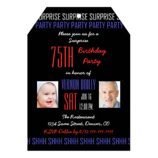 75th Surprise Birthday Party Pictures on Black Card