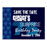 75th Surprise Birthday Save the Date Blue Pattern Postcards