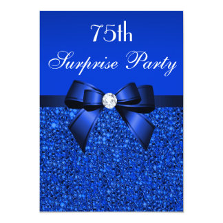 75th Surprise Party Royal Blue Sequins and Bow 5x7 Paper Invitation Card