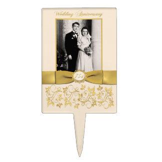 75th Wedding Anniversary Cake Pick with Photo