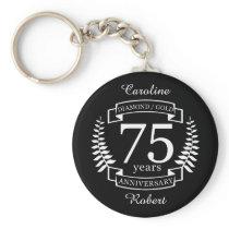 75th Wedding ANNIVERSARY DIAMOND GOLD Keychain