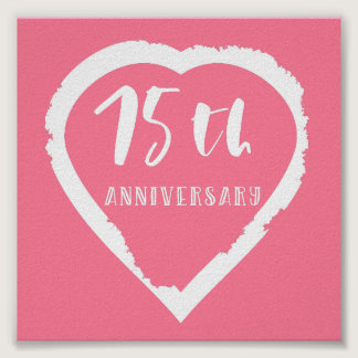 75th wedding anniversary heart poster