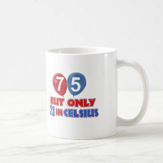 75th year old birthday designs classic white coffee mug