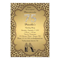 75thBirthday Party , 75th,Cheetah High Heels Shoes Invitation
