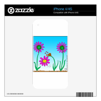 763 romantic snail with flower iPhone 4 decals