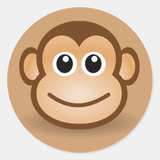 76-Free-Cute-Cartoon-Monkey-Clipart-Illustration Classic Round Sticker