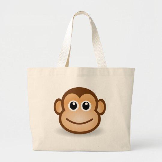 76-Free-Cute-Cartoon-Monkey-Clipart-Illustration Large Tote Bag