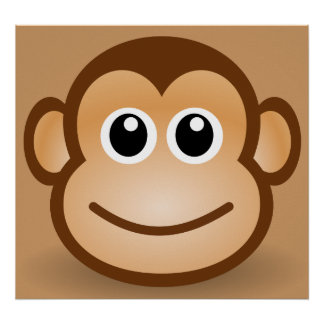 76-Free-Cute-Cartoon-Monkey-Clipart-Illustration Poster
