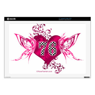 76 number pink racing laptop skins