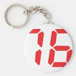 76 seventy-six red alarm clock digital number basic round button keychain