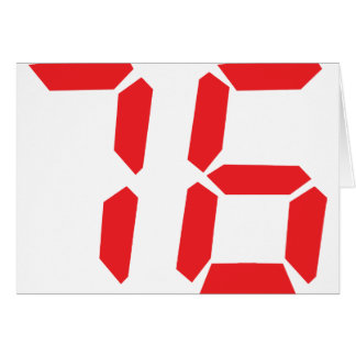 76 seventy-six red alarm clock digital number card