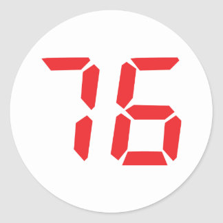 76 seventy-six red alarm clock digital number classic round sticker