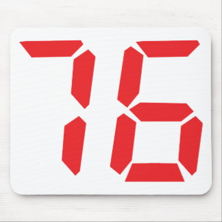 76 seventy-six red alarm clock digital number mouse pad