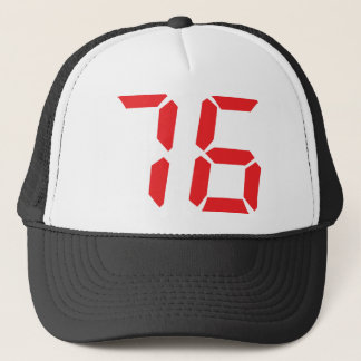 76 seventy-six red alarm clock digital number trucker hat