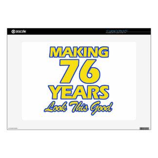 "76 YEARS OLD BIRTHDAY DESIGNS 15"" LAPTOP SKIN"