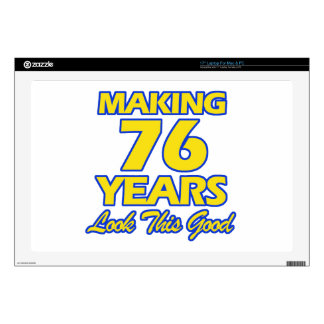 """76 YEARS OLD BIRTHDAY DESIGNS 17"""" LAPTOP DECAL"""