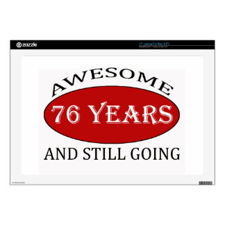 76 years old birthday designs laptop decal