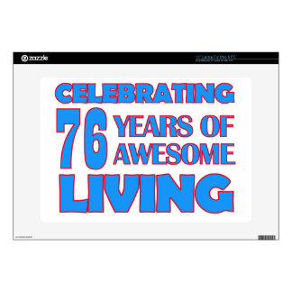 76 years old birthday designs skin for laptop