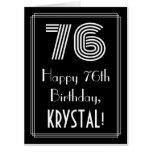 "[ Thumbnail: 76th Birthday — Art Deco Inspired Look ""76"" + Name Card ]"